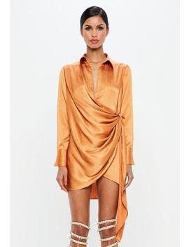 Peace + Love Orange Textured Satin Wrap Dress by Missguided