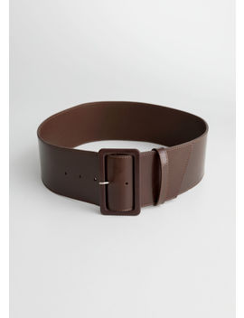 Wide Rectangle Buckle Leather Belt by & Other Stories