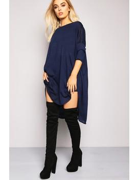 Navy Oversized Chiffon Insert T Shirt Dress by Lasula