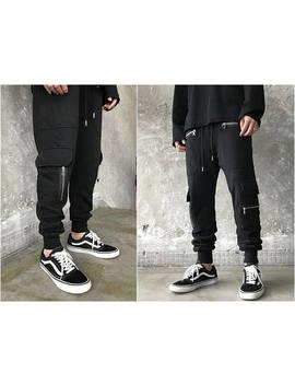 Biker Moto Drop Crotch Droprise Cargo Jogger Pants Jersey Pants / Loose Casual Harem Pants / Side Pockets Zipper Trouser by Yamm Boutique