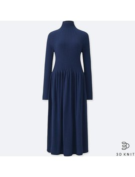 Women 3 D Extra Fine Merino Ribbed Long Sleeve Dress by Uniqlo