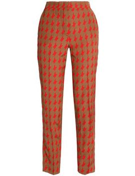 Houndstooth Satin Slim Leg Pants by Msgm