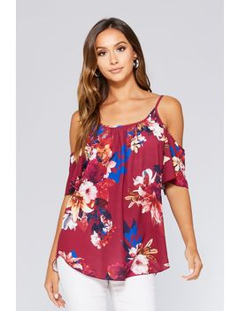 Berry Floral Cold Shoulder Top by Quiz