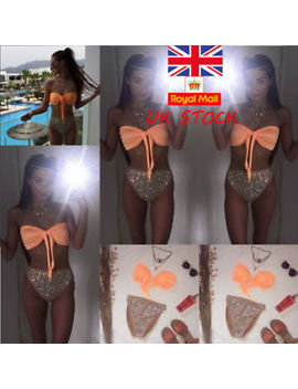 Uk Womens Bikini Set Push Up Diamond Sequin Swimsuit Swimwear Beachwear Bathing by Unbranded