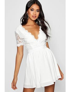 Lace Top Skater Dress by Boohoo