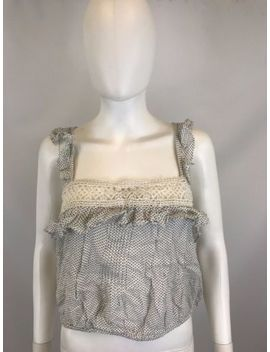 Free People Women's White Polka Dot Sleeveless Crop Top Blouse Size M $88 by Free People