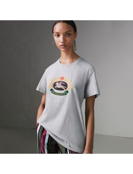 Embroidered Archive Logo Cotton T Shirt by Burberry