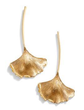 Ginkgo Leaf Drop Earrings by Oscar De La Renta