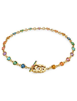 Gucci 18ct Gold Double G Multicolour Stone Bracelet by Beaverbrooks