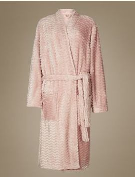 Textured Supersoft Long Sleeve Dressing Gown by Marks & Spencer