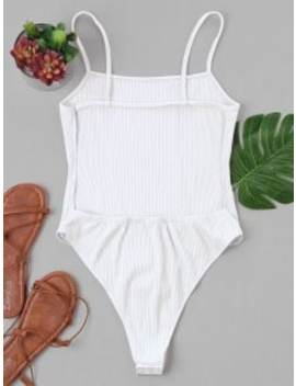 Backless High Cut Bodysuit   White M by Zaful