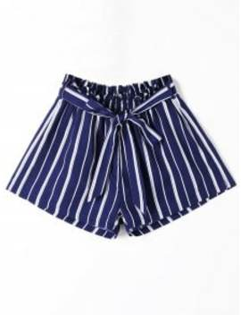 Striped Wide Leg Shorts With Tie Belt   Blue Stripe M by Zaful