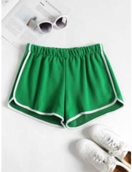 Contrast Trim Dolphin Shorts   Shamrock Green M by Zaful