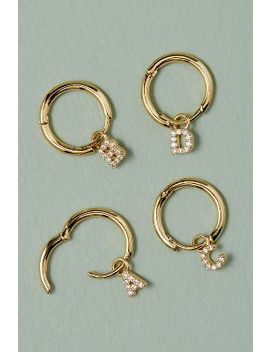 Monogram Jewelled Hoop Earrings by Anthropologie