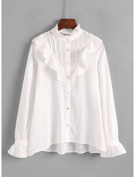 Ruffle Trim Dip Hem Shirt by Sheinside