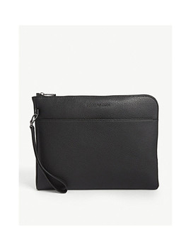 Grained Leather Travel Pouch by Emporio Armani