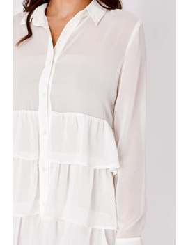 Binky White Chiffon Tiered Frill Shirt Dress by In The Style