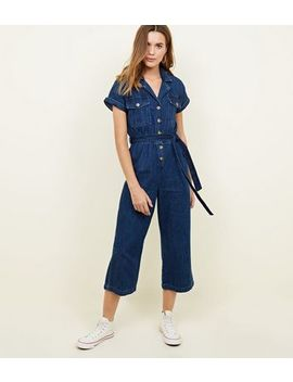 Blue Rinse Wash Denim Culotte Jumpsuit by New Look