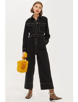 Contrast Denim Boilersuit by Topshop