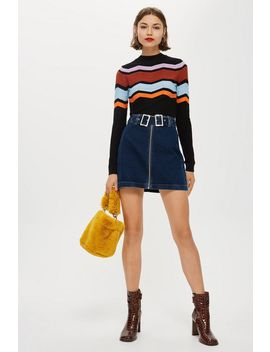 Double Buckle Denim Skirt by Topshop