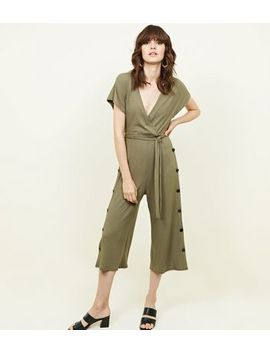 Khaki Popper Side Ribbed Wrap Front Jumpsuit by New Look