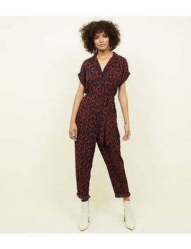 Rust Leopard Print Tapered Leg Jumpsuit by New Look