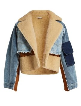 Shearling Panelled Denim Cropped Jacket by Natasha Zinko