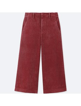 Women Corduroy Wide Cropped Trousers by Uniqlo