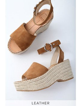 Lesly Saddle Brown Suede Leather Espadrille Wedges by Lulu's