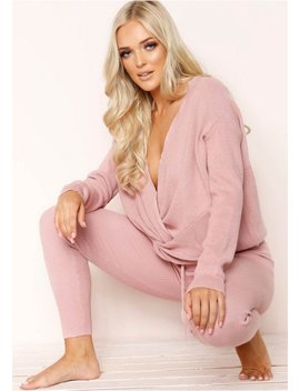 Keira Pink Knit Loungewear Set by Missy Empire