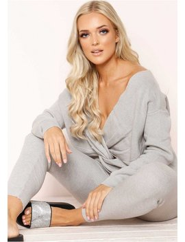 Keira Grey Knit Loungewear Set by Missy Empire