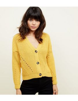 Mustard Chunky Ribbed Pointelle Cardigan by New Look