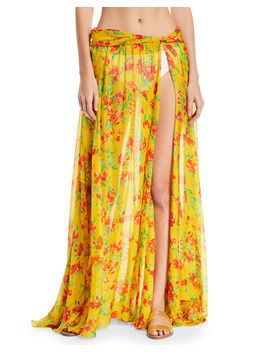 Hera Floral Print Sheer Coverup Skirt by Caroline Constas