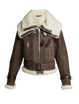 Shearling And Leather Aviator Jacket by Burberry