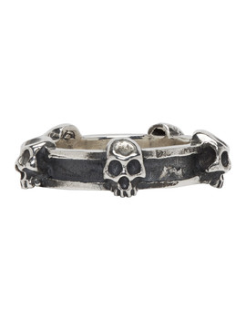 Silver Skinny Plain Skull Ring by Luka Sabbat X Monini