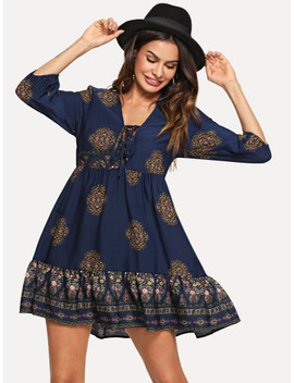 Lace Up Front Ornate Print Smock Dress by Shein