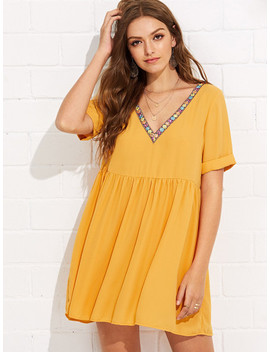 Embroidery Tape Neck Cuffed Smock Dress by Shein