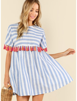 Tassel Embellished Stripe Smock Dress by Shein