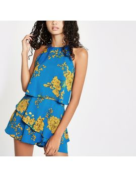 Blue Floral Print Tiered Frill Playsuit by River Island