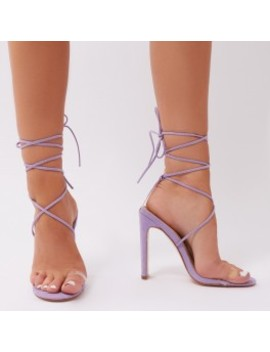 Geo Lace Up Heels In Lilac Faux Suede by Public Desire