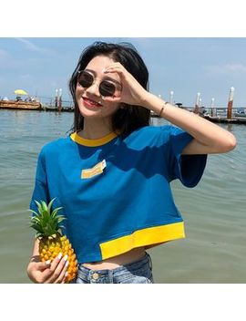 Short Sleeve Colour Block Cropped T Shirt by Melon Juice