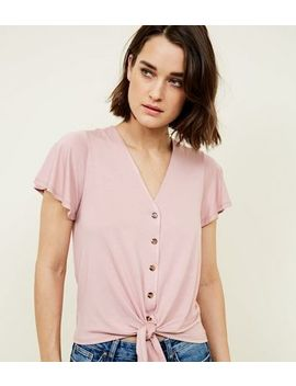 Pale Pink Tie Button Front Top by New Look