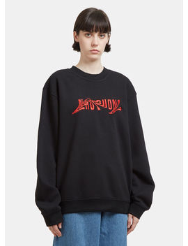 Distorted Embroidered Logo Sweatshirt In Black by Nhu Duong