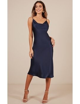 Know The Drill Dress In Navy Satin by Showpo Fashion