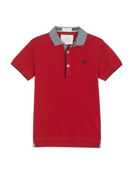 J By Jasper Conran   'boys' Red Gingham Collar Polo Shirt by J By Jasper Conran