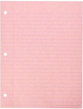 School Smart 3 Hole Punched Filler Paper, 8 1/2 X 11 Inches, Pink, 100 Sheets by School Specialty