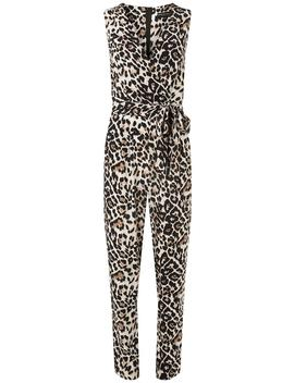 Multi Coloured Leopard Print Wrap Jumpsuit by Dorothy Perkins