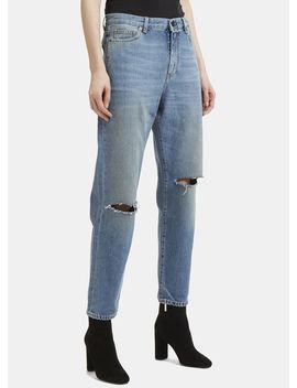 Loose Fit Slit Knee Jeans In Blue by Saint Laurent