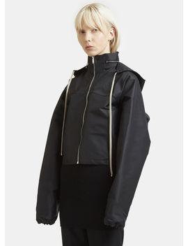 Cropped Wind Breaker Jacket In Black by Rick Owens
