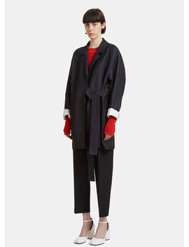 Belted Striped Twill Coat In Navy by Acne Studios